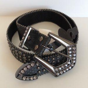 Accessories - Rhinestone Brown Leather Belt